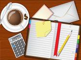 Dagelijkse planner, koffie en briefpapier — Stockvector