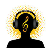 Human silhouette with headphones — Stock Vector