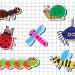 Set Cartoon insects — Stock Vector