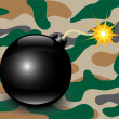 Stock Vector: Bomb on camouflage background