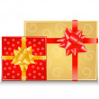 Two gift boxes with bows — Stock Vector
