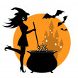 Beautiful witch and cauldron — Stock Vector