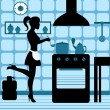 Stock Vector: Woman cooking in the kitchen