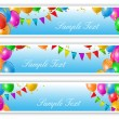Holiday banners with balloons — Stock Vector