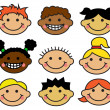 Cartoon children's faces different nationalities — Stock Vector