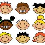 Cartoon children's faces different nationalities — Stock Vector #32568347