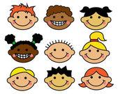 Cartoon children's faces different nationalities — Stock Vector