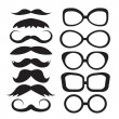 Stock Vector: Set glasses and mustache