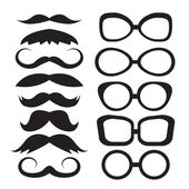 Set glasses and mustache — Stock Vector