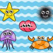 Cartoon sea creatures — Stock Vector