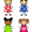 Set Cartoon Girls — Stock Vector