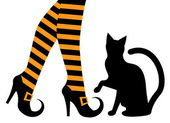 Witches feet in shoes and a black cat — Stock Vector