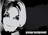 Woman's face grunge vector illustration — Stock Vector