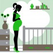 Pregnant woman in baby's room   — Imagen vectorial