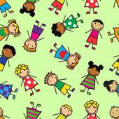 Cartoon seamless pattern with children — Stock Vector