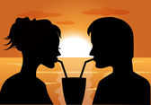 Silhouettes of a couple in love at sunset — Stock Vector
