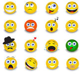Set of yellow round emoticons — Stock Vector