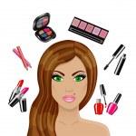 Beautiful woman and various cosmetics — Stock Vector