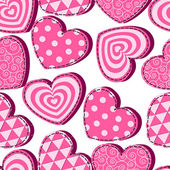 Seamless pattern with pink hearts Valentine's Day — Stock Vector