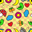 Cartoon seamless pattern with flora and fauna — Vecteur