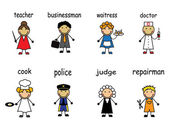 Cartoon people of various professions — Stock Vector