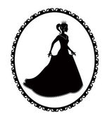 Princess silhouette in long dress and retro frame — Stock Vector