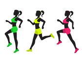 Three silhouettes of running women — Stock Vector