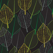 Seamless pattern of green and yellow leaves — Stock vektor