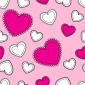 Seamless pink background with hearts — Stock Vector