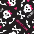 Vector de stock : Seamless pattern with skulls, bones and hearts