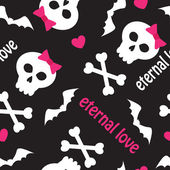 Seamless pattern with skulls, bones and hearts — Stockvektor