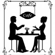 Silhouettes of a loving couple in a cafe and vintage frame — Stock Vector #39080325