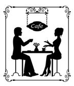 Silhouettes of a loving couple in a cafe and vintage frame — Stock Vector