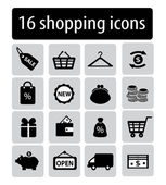 Set of black shopping icons — Vector de stock