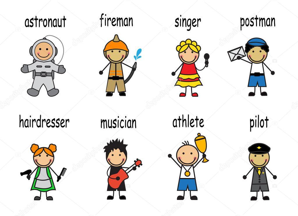 Caricatura Conjunto De Personas De Diferentes Profesiones