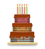 Three-tiered chocolate cake with candles — Stock Vector