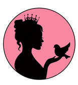Princess holding a little bird in the palm — Stock Vector