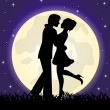 Silhouettes of a loving couple standing in front of the moon — Stock Vector #40711619