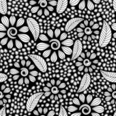 Seamless pattern with black and white flowers — Stock Vector