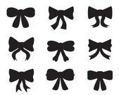 Set of silhouettes of bows — Vector de stock