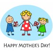 Cartoon card for Mother's Day — Stock Vector