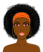 Face of beautiful African black woman — Stock Vector