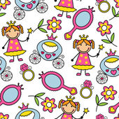 Cartoon seamless pattern with princess and her belongings — Stock Vector