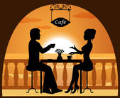 Couple in a cafe on the beach at sunset — Stock Vector