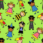 Cartoon seamless pattern with children in different carnival costumes — Stock Vector