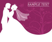Bride and groom on a burgundy background with swirls — Stock Vector