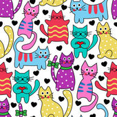 Cartoon seamless colorful cats — Stock Vector