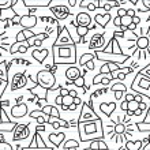 Children's drawings. Doodle background — Stock Vector #47987599