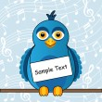 Blue bird with a sign — Stock Vector #51050669