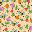 Seamless background with bees and flowers — Stock Vector #51510813